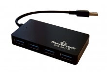 POWERTECH USB 3.0 Hub, 4 Ports, DC port, μαύρο