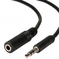 POWERTECH καλώδιο Jack stereo 3.5mm male σε female, Nickel, μαύρο, 5m