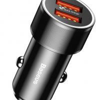 BASEUS φορτιστής αυτοκινήτου CAXLD-B01, 2x USB, 2.4A 36W, μαύρο